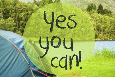 Lake Camping, Text Yes You Can, Norway River Banco de Imagens