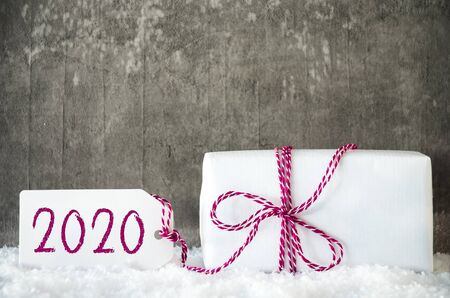 White Gift, Snow, Label, Text 2020, Grungy Grey Background