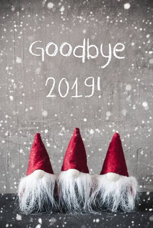 Three Red Gnomes, Cement, Snowflakes, Text Goodbye 2019 Imagens