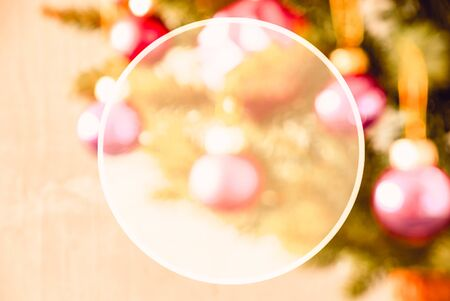 Bright Blurry Rose Balls, Copy Space, Christmas Tree Imagens