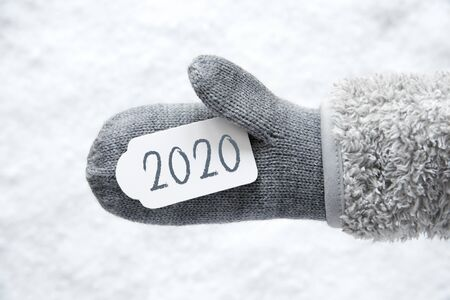 Wool Glove, Label, Snow, Text 2020, White Background Imagens - 130687049
