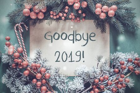 Christmas Garland, Fir Tree Branch, Snowflakes, Goodbye 2019 Imagens - 130687044