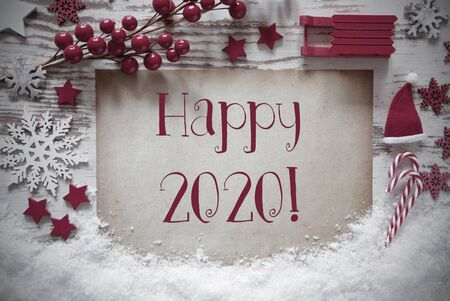 Red Christmas Decoration, Snow, English Text Happy 2020