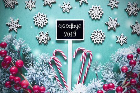 Black Christmas Sign,Lights, Frosty Look, Text Goodbye 2019