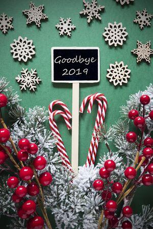 Retro Black Christmas Sign,Lights, English Text Goodbye 2019 Imagens - 130686966
