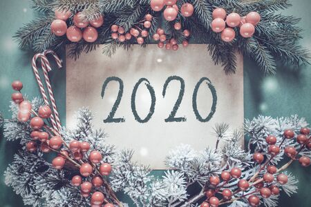 Christmas Garland, Fir Tree Branch, Snowflakes, Text 2020
