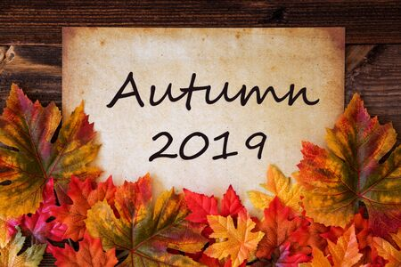 Old Paper With Text Autumn 2019, Colorful Leaves Decoration Imagens - 130686994