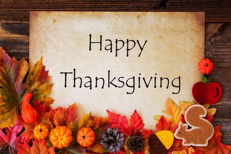 White Paper With Happy Thanksgiving, Colorful Autumn Decoration Imagens - 130686884