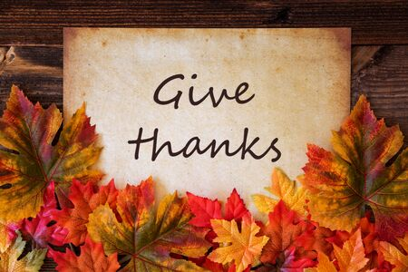 Grungy Old Paper, Colorful Leaves, Text Give Thanks