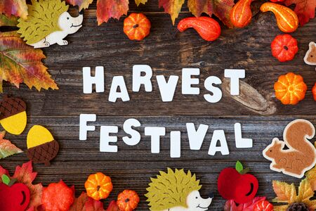 Colorful Autumn Decoration, Text Harvest Festival, Wooden Background Imagens