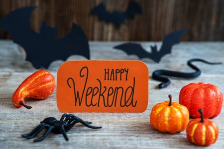 Orange Label, Calligraphy Happy Weekend, Scary Halloween Decoration