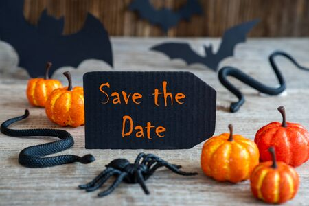 Black Label, Text Save The Date, Scary Halloween Decoration Imagens