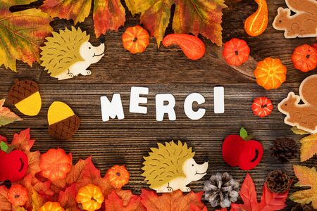 Colorful Autumn Decoration, Text Merci Means Thank You