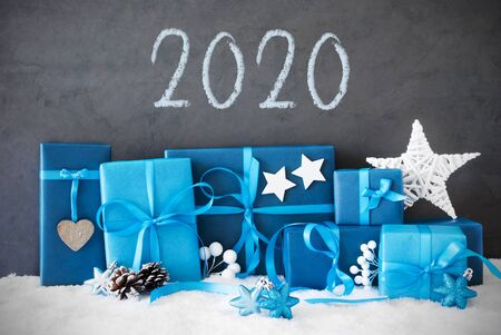 Blue Christmas Gifts, Snow, Text 2020, Decoration Like Star Imagens