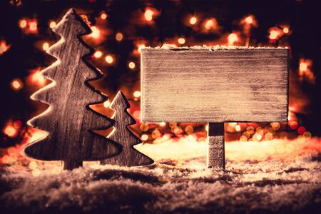 Sign, Christmas Tree, Snow, Copy Space, Retro Look Imagens