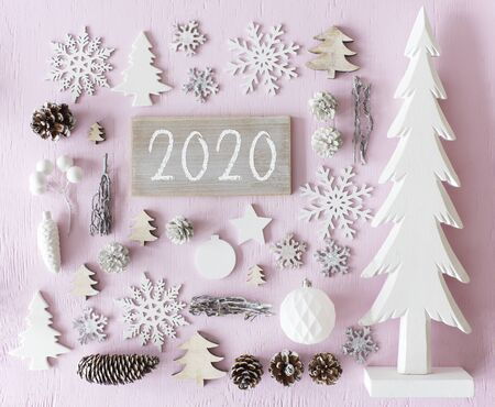 White Wooden Christmas Decoration, Flat Lay, Text 2020 Imagens
