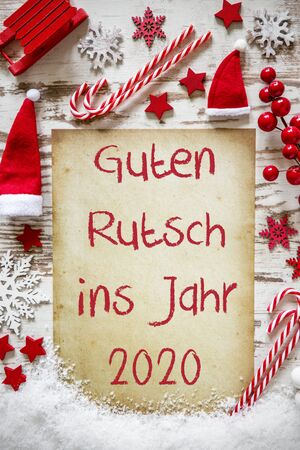 Bright Christmas Flat Lay, Guten Rutsch 2020 Means Happy New Year Imagens