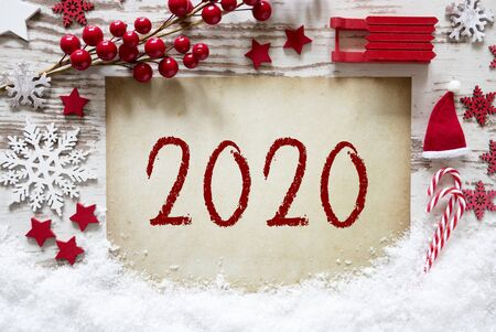 Christmas Decoration, White Wooden Background, Snow, Text 2020