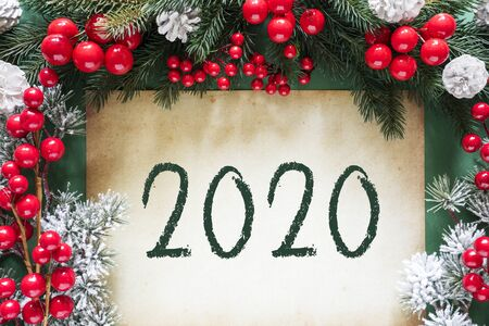 Christmas Decoration Like Fir Tree Branch, Text 2020