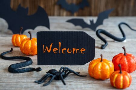 Black Label, Text Welcome, Scary Halloween Decoration Imagens
