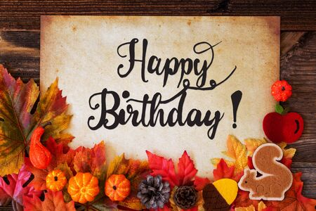 Old Paper With Happy Birthday, Colorful Autumn Decoration Imagens