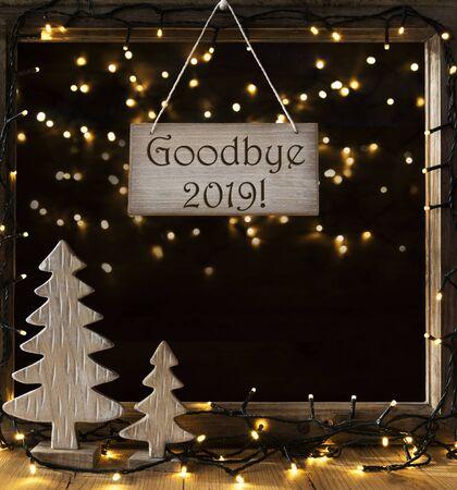 Window, Lights In Night, English Text Goodbye 2019