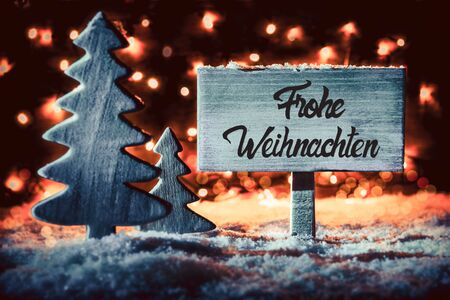 Tree, Sign, Snow, Calligraphy Frohe Weihnachten Means Merry Christmas Imagens