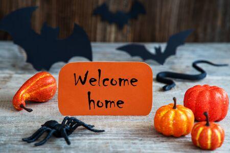 Orange Label, Text Welcome Home, Scary Halloween Decoration 版權商用圖片