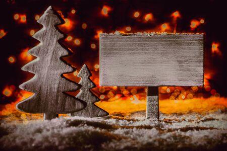 Christmas Decoration, Sign, Christmas Tree, Snow, Copy Space Archivio Fotografico