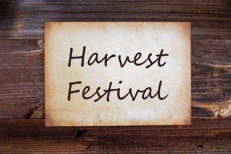Old Paper, Text Harvest Festival, Wooden Background Banco de Imagens