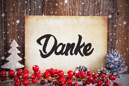 Christmas Decoration, Paper With Text Danke Means Thank You, Snow
