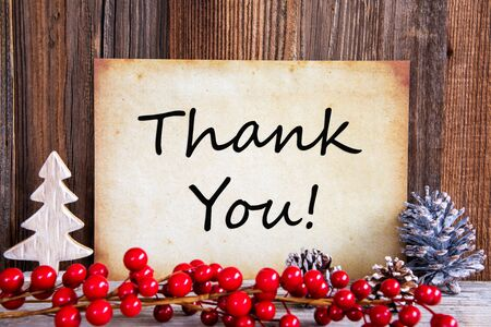 Christmas Decoration, Old Paper With Thank You