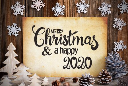 Old Paper With Christmas Decoration, Merry Christmas And Happy 2020