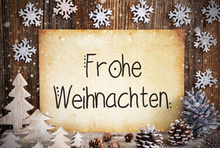 Old Paper, Decoration, Frohe Weihnachten Means Merry Christmas, Snowflakes Zdjęcie Seryjne