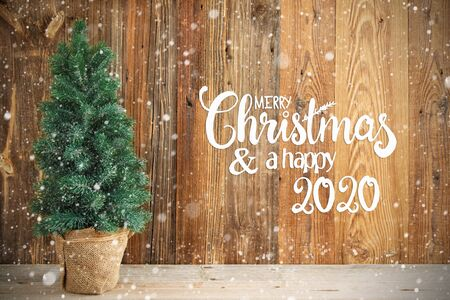 Christmas Tree, Wooden Background, Merry Chirstmas And Happy 2020, Snow