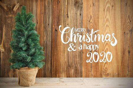 Christmas Tree, Wooden Background, Merry Chirstmas And Happy 2020