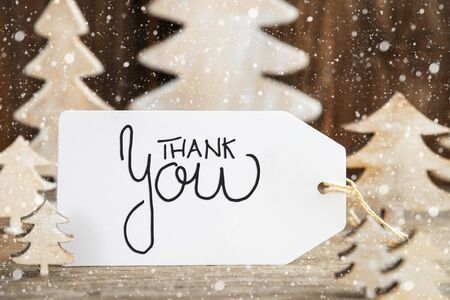 Christmas Tree, Label With English Calligraphy Thank You, Snowflakes