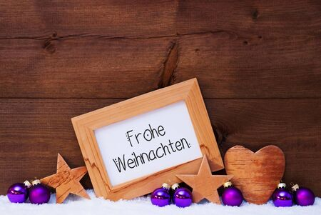 Frame, Purple Ball, Frohe Weihnachten Means Merry Christmas