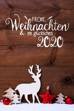 Snow, Deer, Tree, Red Ball, Glueckliches 2020 Means Happy 2020