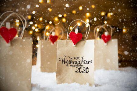 Christmas Shopping Bag, Snow, Snowflakes, Glueckliches 2020 Mean Happy 2020