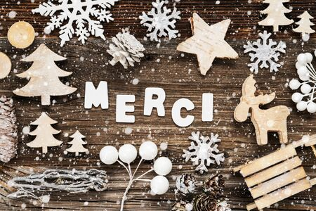 Wooden Christmas Decoration, Merci Means Thank You, Sled And Tree, Snowflakes