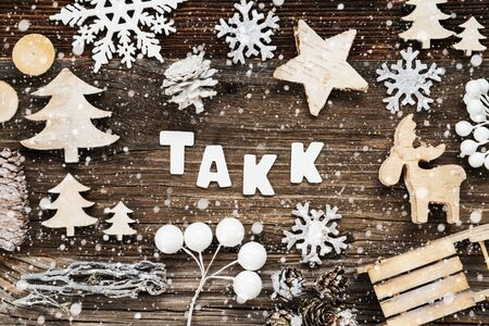 Wooden Christmas Decoration, Takk Means Thank You, Seld And Tree, Snowflakes