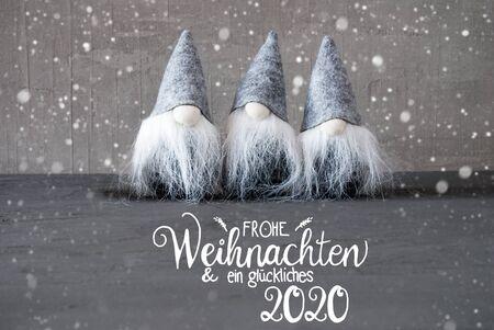 Santa Claus, Concrete Background, Snowflakes, Glueckliches 2020 Mean Happy 2020