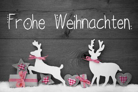 Gift, Deer, Heart, Snow, Frohe Weihnachten Mean Merry Christmas, Gray Background Banco de Imagens