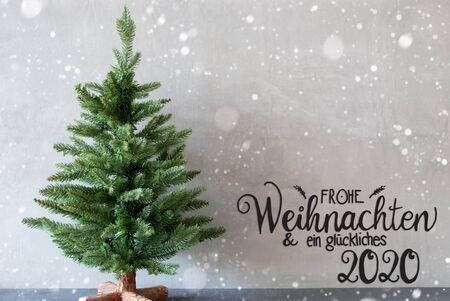 German Calligraphy Frohe Weihnachten Und Ein Glueckliches 2020 Mean Merry Christmas And A Happy 2020. Green Christmas Tree With Gray Background And Snowflakes