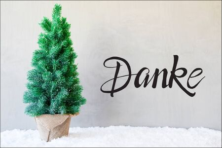 German Calligraphy Danke Means Thank You. Chrismas Tree On Snow. Gray Cement Background 版權商用圖片
