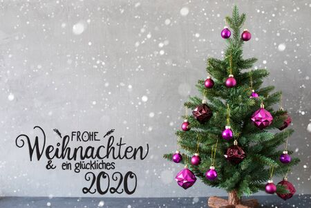 German Calligraphy Frohe Weihnachten Und Ein Glueckliches 2020 Mean Merry Christmas And A Happy 2020. Tree With Purple Christmas Ball Ornament. Gray Background With Snowflakes