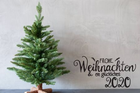 German Calligraphy Frohe Weihnachten Und Ein Glueckliches 2020 Mean Merry Christmas And A Happy 2020. Green Christmas Tree With Gray Background