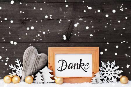 Heart, Golden Ball, Tree, Danke Means Thank You, Gray Background
