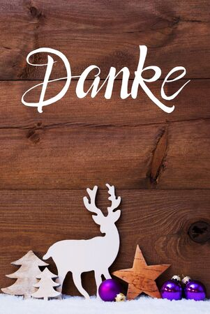 Snow, Deer, Tree, Pruple Ball, Danke Means Thank You